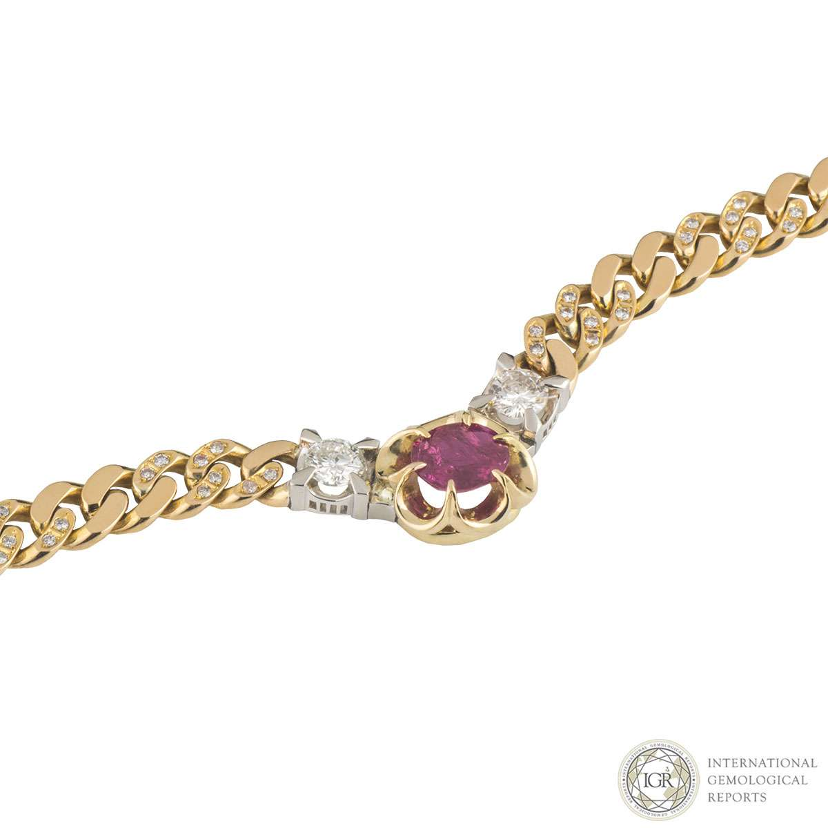 Yellow Gold Ruby and Diamond Necklace